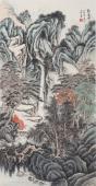 【询价】沙发背景墙挂画 王立芳精品山水画《观瀑图》