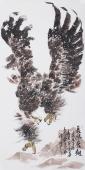 青年花鸟画名家丰伟写意雄鹰图《长风展翅》