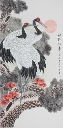鹤寿图 王文秀四尺工笔画《松龄鹤寿》