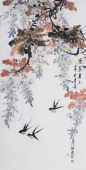 中央美院张国稳四尺竖幅写意花鸟作品《紫气东来》