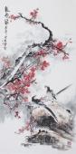 广西美协石云轩四尺竖幅花鸟画《报春图》