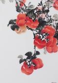 【已售】广西美协石云轩四尺竖幅写意国画柿子《事事如意》