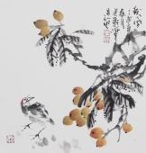 广西美协石云轩三尺斗方花鸟画《秋风》