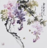 【已售】石云轩三尺斗方写意花鸟画《紫气东来》