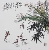 广西美协石云轩写意斗方花鸟画《春风得意》