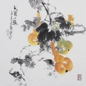 广西美协石云轩四尺斗方国画《秋园小趣》