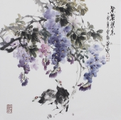 【已售】广西美协石云轩四尺斗方花鸟画《紫气东来》