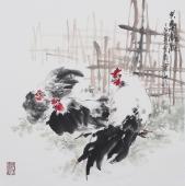 石云轩四尺斗方国画鸡《其乐融融》