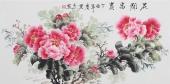 餐厅装饰画 云志三尺横幅手绘牡丹《花开富贵》