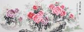 云志六尺横幅写意国画牡丹图《富贵祥和》