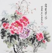 【已售】餐厅字画 云志四尺斗方写意牡丹《富贵平安》