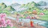 朝鲜一级艺术家李春福民俗画《故乡的春天》