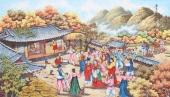 朝鲜一级艺术家李春福民俗画《丰收的秋天》