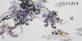 【已售】广西美协石云轩四尺横幅写意花鸟《紫气东来》
