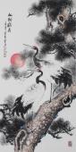 名家字画 广西美协石云轩四尺竖幅写意花鸟画《松龄鹤寿》