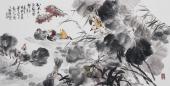 广西美协石云轩四尺横幅写意花鸟画《秋水月际鸳鸯梦》