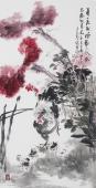 书画名家 广西美协石云轩四尺竖幅写意花鸟画《一年一度起风动,不似春风胜似春》