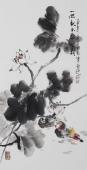 【已售】书画名家  广西美协石云轩三尺竖幅写意花鸟画《一池春水开风荷》