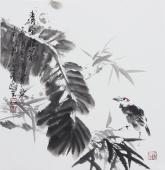 书画名家  广西美协石云轩三尺斗方写意花鸟画《清风掠影》