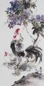 广西美协石云轩三尺竖幅写意花鸟画《春风得意》