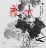【已售】书画名家  广西美协石云轩三尺斗方写意花鸟画《荷香》