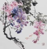 【已售】书画名家  广西美协石云轩精品三尺斗方写意花鸟画《紫气》