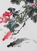 【已售】精品书画  广西美协石云轩三尺竖幅写意花鸟画《鱼乐图》