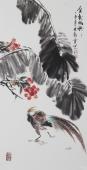 书画名家  广西美协石云轩三尺竖幅写意花鸟画《金松时节》