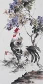 广西美协石云轩三尺竖幅写意花鸟画《雄鸡图》