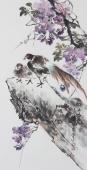 广西美协石云轩三尺竖幅写意花鸟画《锦上添花》