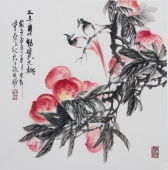 广西美协石云轩四尺斗方写意花鸟画《三千年结果之桃》