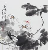 【已售】书画名家  广西美协石云轩三尺斗方写意花鸟画《荷黛》