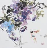 书画名家  广西美协石云轩三尺斗方写意花鸟画《鱼乐图》