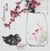 精品书画  广西美协石云轩三尺斗方写意花鸟画《清韵》