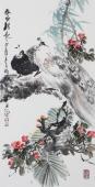 精品书画  广西美协石云轩三尺竖幅写意花鸟画《春风得意》