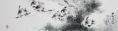 书画名家 广西美协石云轩精品六尺对开写意花鸟画《神儒畅游园》