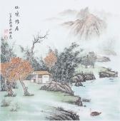广西美协欧阳四尺斗方写意山水画《仙境雅居》