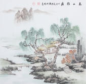 广西美协欧阳四尺斗方写意山水画《》春山雅居