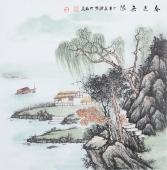 广西美协欧阳精品四尺斗方写意山水画《春光无限》