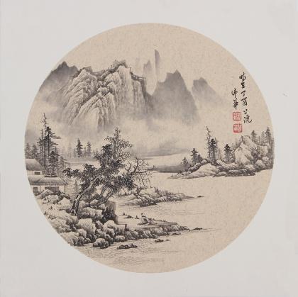 【已售】河北美协梁伟华三尺斗方工笔山水画