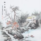 广西美协欧阳四尺斗方写意山水画《松山雅居》