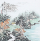 书画名家  欧阳四尺斗方写意山水画《深山居隐》