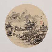 河北美协梁伟华三尺斗方工笔山水画