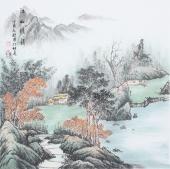 书画名家  广西美协欧阳四尺斗方写意山水画《江山雅韵》
