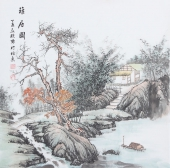 书画名家  广西美协欧阳四尺斗方写意山水画《雅居图》