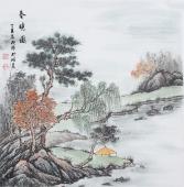 实力派画家  欧阳四尺斗方写意山水画《春晓图》