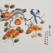 【已售】书画精品  北京美协凌雪四尺斗方工笔花鸟画《事事如意》