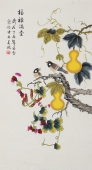 北京美协凌雪三尺竖幅工笔花鸟画《福禄满堂》