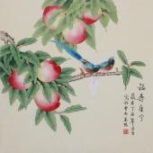 精品书画 北京美协凌雪四尺斗方工笔花鸟画《福寿康宁》