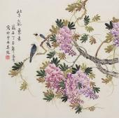 【已售】北京美协凌雪四尺斗方工笔花鸟画《紫气东来》